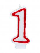 Bougie blanche au contour rouge chiffre 1