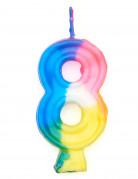 Bougie multicolore chiffre 8