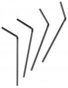 50 Pailles flexibles noires