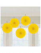 5 Mini rosaces jaunes 15 cm
