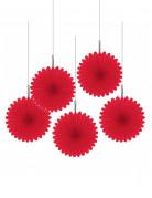 5 Mini rosaces rouges 15 cm