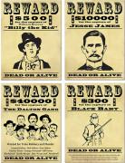 Affiches de récompense Bandits américains