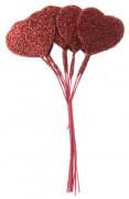 Bouquet de 12 coeurs rouges paillettés