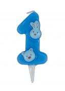 Bougie 3D bleue chiffre 1