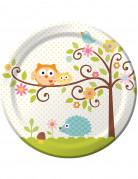 8 Assiettes en carton Petits Hiboux 23 cm