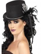 Chapeau haut de forme squelette et plumes femme Halloween