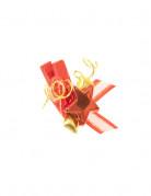 6 Pinces à linge rouges et dorées étoiles