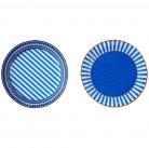 8 Assiettes bleues en carton 23 cm