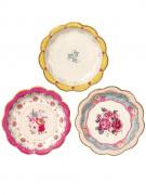 12 Petites assiettes en carton Thé entre copines 17 cm