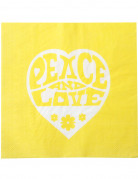 20 Serviettes en papier Jaunes Hippie Peace and Love 33 x 33 cm