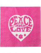20 Serviettes en papier Hippie Fuchsia Peace and Love 33 x 33 cm
