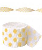 Guirlande papier crépon blanche à pois jaune