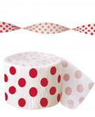 Guirlande papier crépon blanche à pois rouge