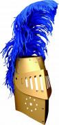 Casque chevalier or en carton riveté avec plume enfant