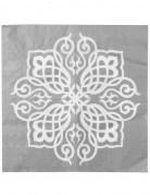 20 Serviettes en papier Mariage Oriental argent 33 x 33 cm