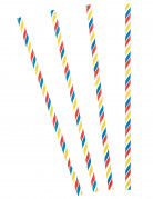 30 Pailles rayées multicolores