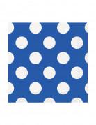 16 Petites serviettes en papier Bleues à pois blancs 25 x 25 cm
