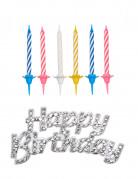 12 Bougies d'anniversaire avec décoration Happy Birthday