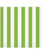 16 Serviettes en papier Rayées vertes et blanches 33 x 33 cm