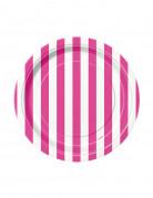 8 Petites assiettes à rayures roses et blanches en carton 17 cm