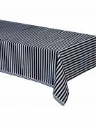 Nappe plastique rayée noir et blanc 137 x 274 cm