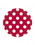 8 Petites assiettes rouges à pois blancs en carton 18 cm