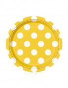 8 Petites assiettes jaunes à pois blancs en carton 17 cm