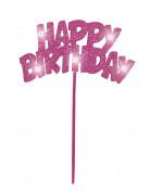 Décoration pour gâteaux Happy Birthday rose