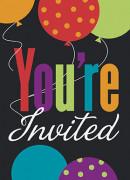 8 Invitations avec enveloppes Happy Birthday