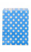 24 Sachets papier turquoise pois blancs