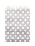 24 Sachets papier gris pois blancs