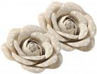 2 Roses en lin à pois blancs avec ruban