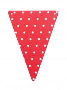 5 Fanions DIY rouge à pois blancs en carton