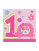 16 Petites Serviettes en papier 1 an Fille 25 x 25 cm