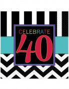 16 Serviettes en papier Celebrate 40 ans 33 x 33 cm