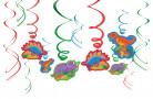 12 Décorations spirales à suspendre Dino Party