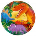 8 Assiettes en carton dinosaure 23 cm