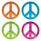 4 Décorations métalliques Peace 30 cm