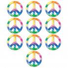 10 Petites décorations cartonnées Peace 11 cm