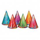 6 Chapeaux de fête colorés en carton