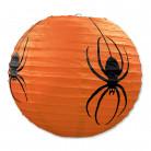 3 Lanternes en papier orange Araignées Halloween