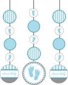 3 Décorations à suspendre Pieds bleus 91 cm