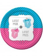 8 Assiettes en carton Baby Shower Fille ou Garçon 23 cm