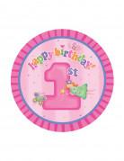 8 Petites assiettes en carton Fée 1er anniversaire 18 cm