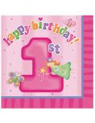 16 Serviettes en papier Fée 1er anniversaire 33 x 33 cm