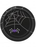 8 Assiettes en carton Toile d'araignée Halloween 23 cm