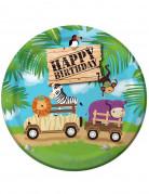 8 Assiettes en carton anniversaire Safari aventure 23 cm