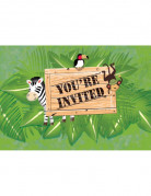 8 Cartons d'invitation anniversaire Safari aventure