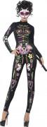 Déguisement combinaison squelette coloré femme Halloween