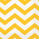 16 Serviettes en papier Chevron Jaune 33 x 33 cm